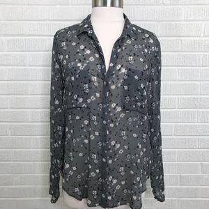 Cloth & Stone Gray Mini Floral Button Down Shirt